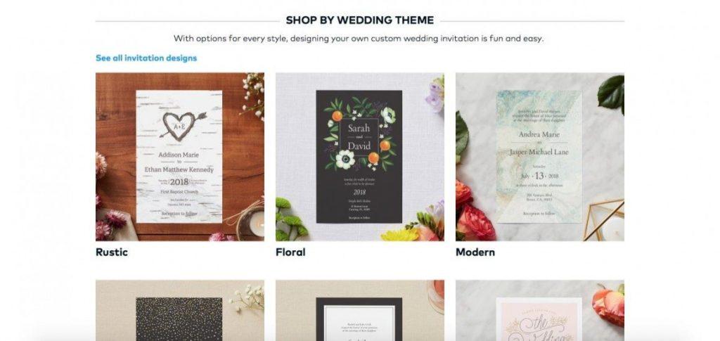 Vistaprint wedding themes and customizations
