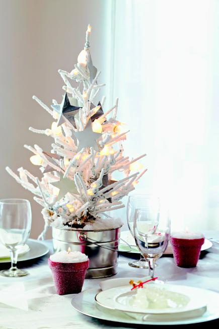 christmas tree frosted centerpiece