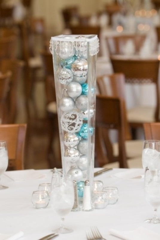 christmas frosty wedding centerpieces