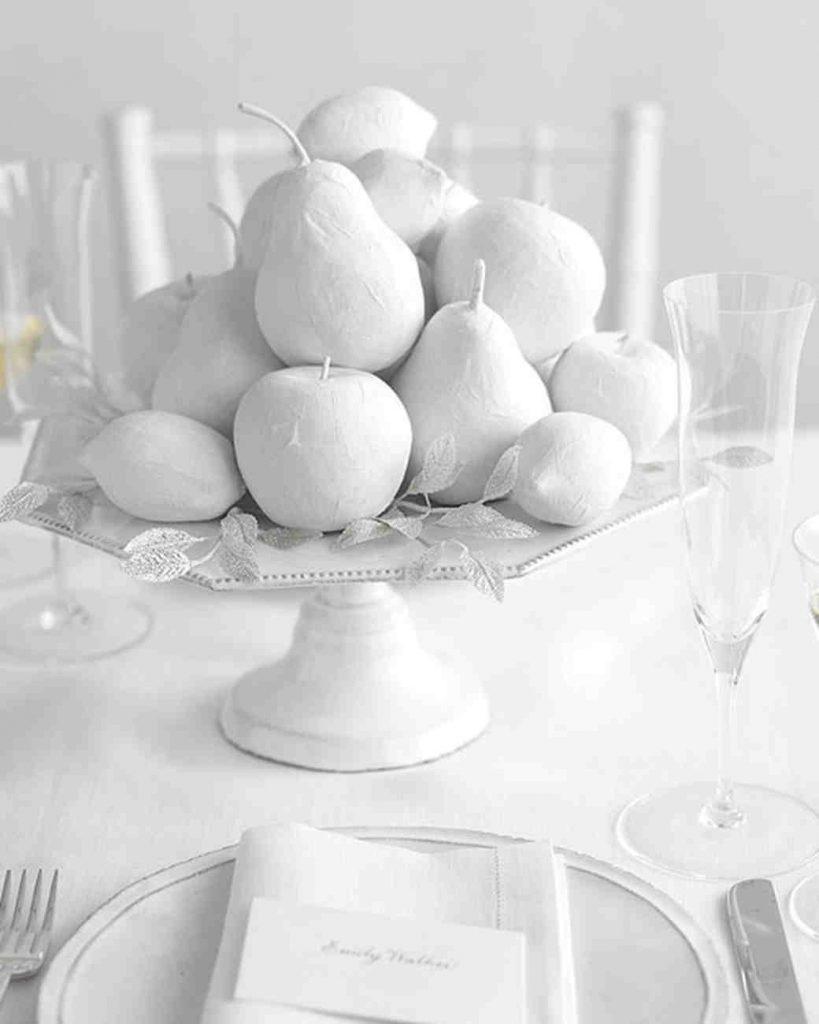 winter white wedding centerpiece