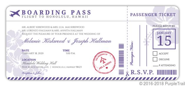 PurpleTrail Boarding Pass Invitation