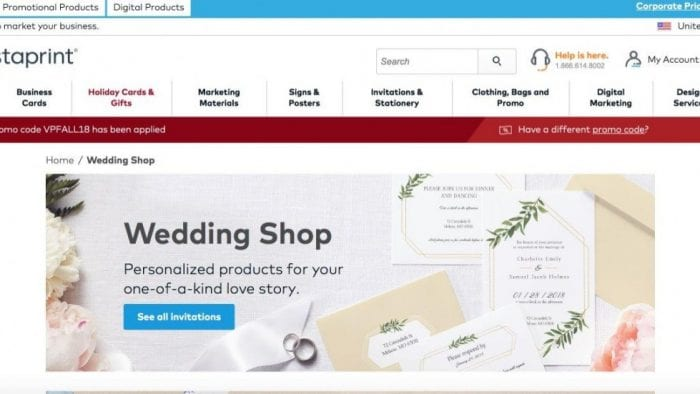 Vistaprint online stationery store