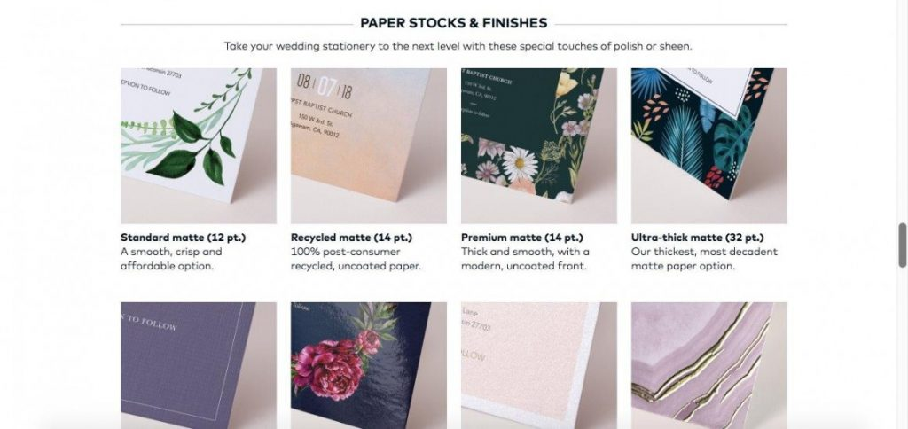 Vistaprint paper stocks and finishes