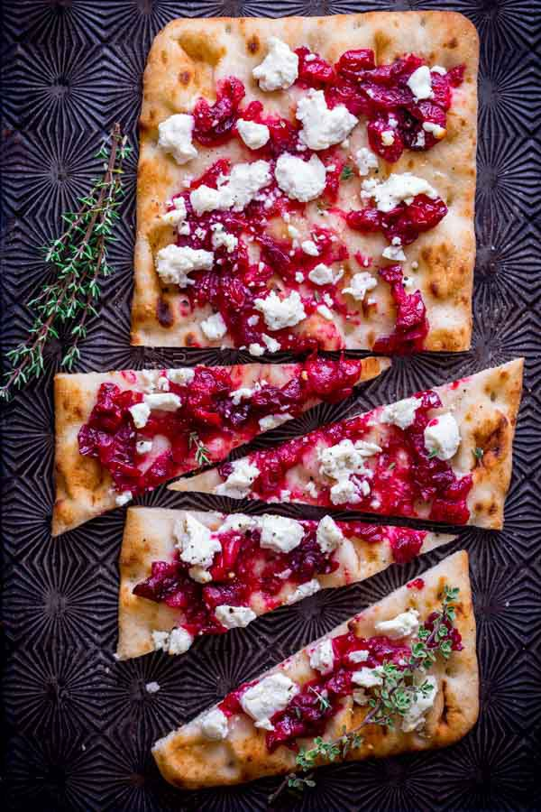 Roasted Cranberry & Goat Cheese Flatbread from Healthy Seasonal Recipes