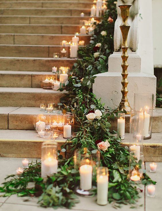 green floor wedding garland