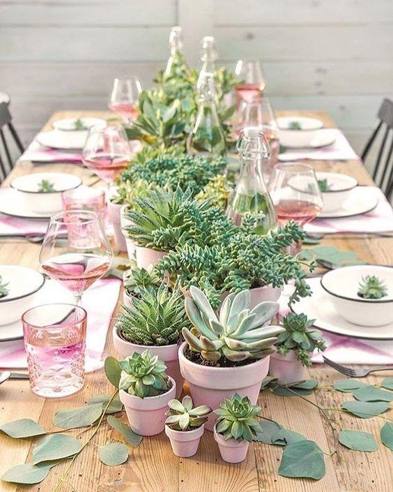 green succulent wedding decor