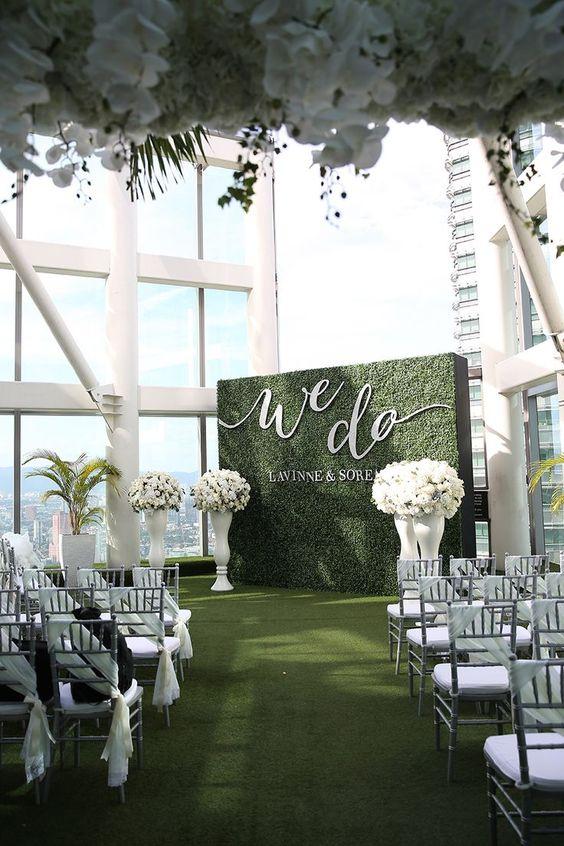 green wedding ceremony decor