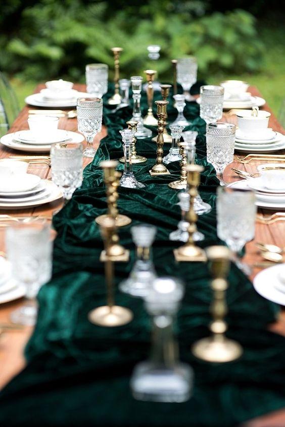 green velvet wedding reception table