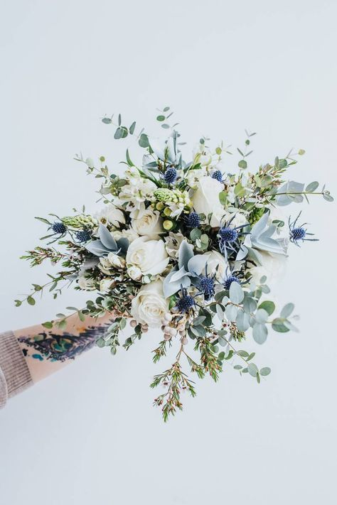 green and blue bouquet