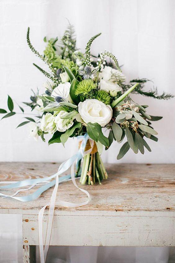 green texture wedding bouquet