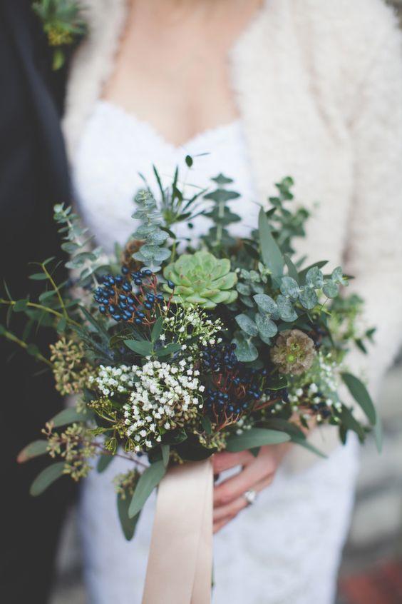 textural wedding flowers green