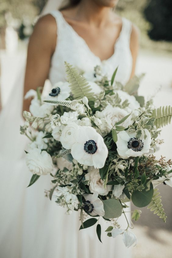 green and white anemone wedding bouquet