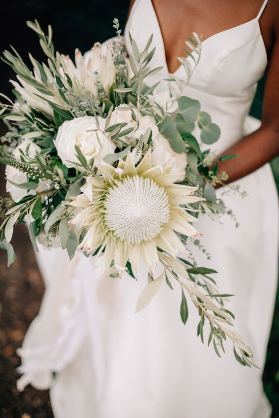 white textural and green wedding bouquet