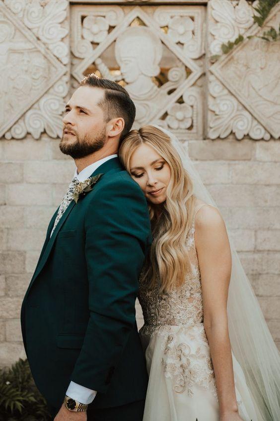 green wedding tux