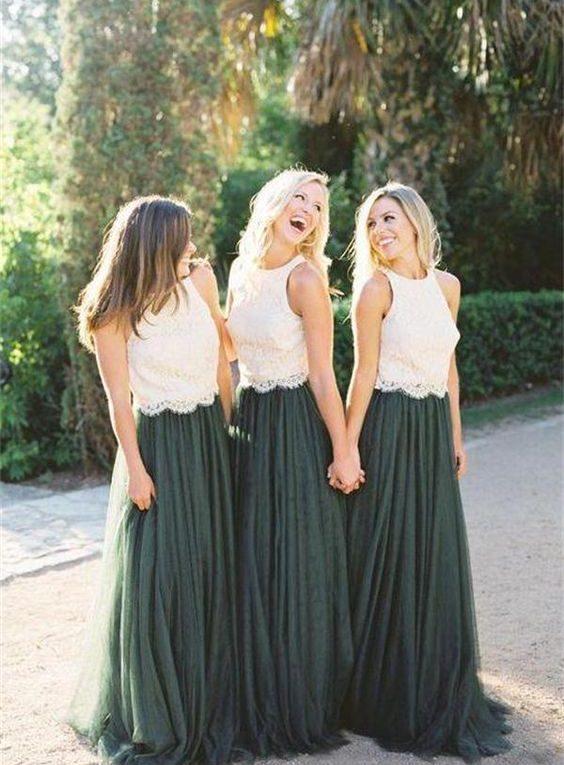 green boho bridesmaid wedding skirts