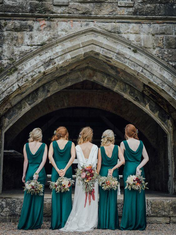deep green bridesmaid wedding dress