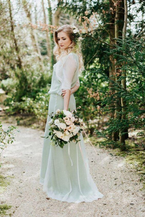 mint green wedding dress