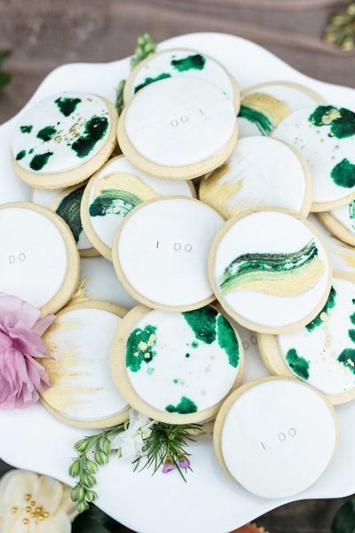 marble green and white wedding cookies