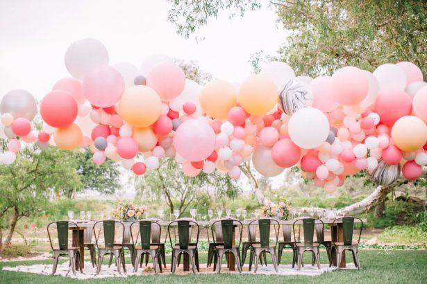 youthful festivity wedding with balloons