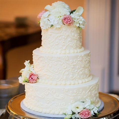 traditional wedding cake with three tiers