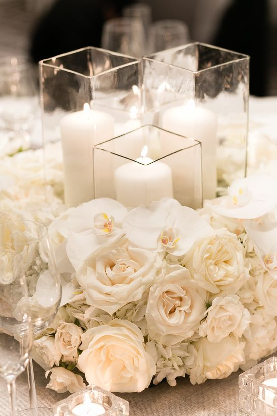 all white floral centerpiece