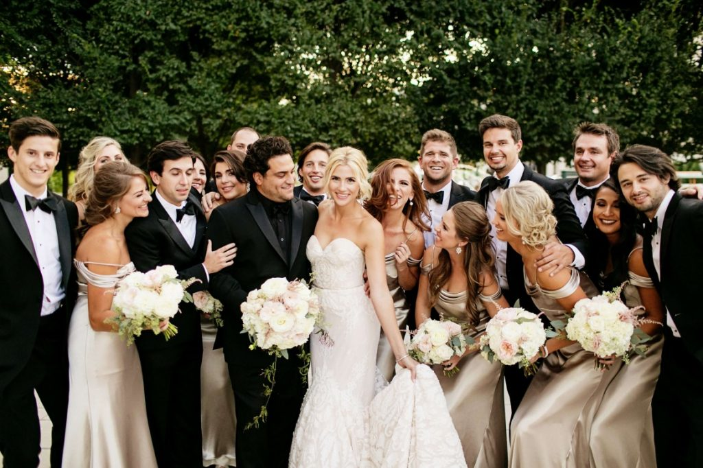 black and gold wedding party