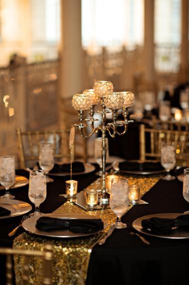 black and gold wedding reception