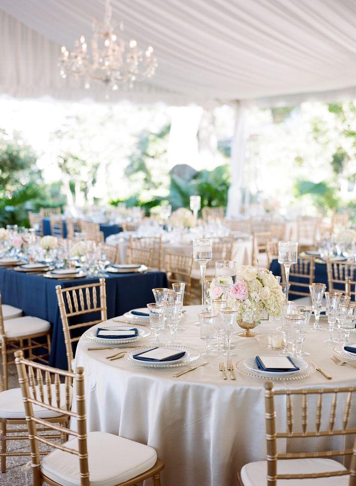 champagne navy blush wedding reception