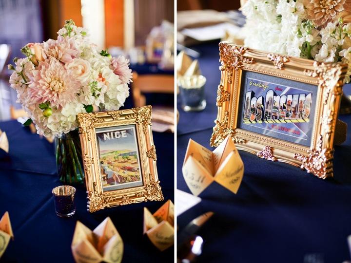 champagne navy and blush wedding reception decor