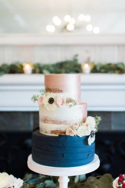 champagne and navy cake