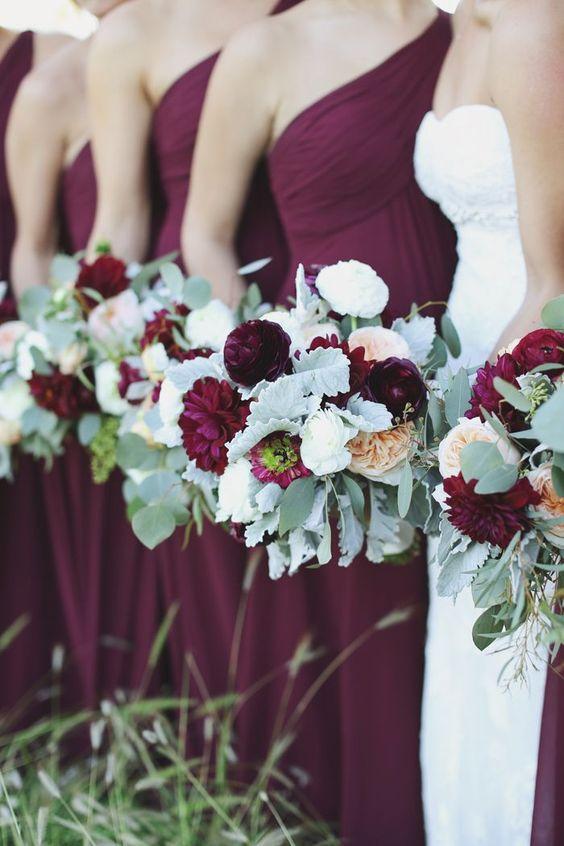 cranberry and sage bridesmaids