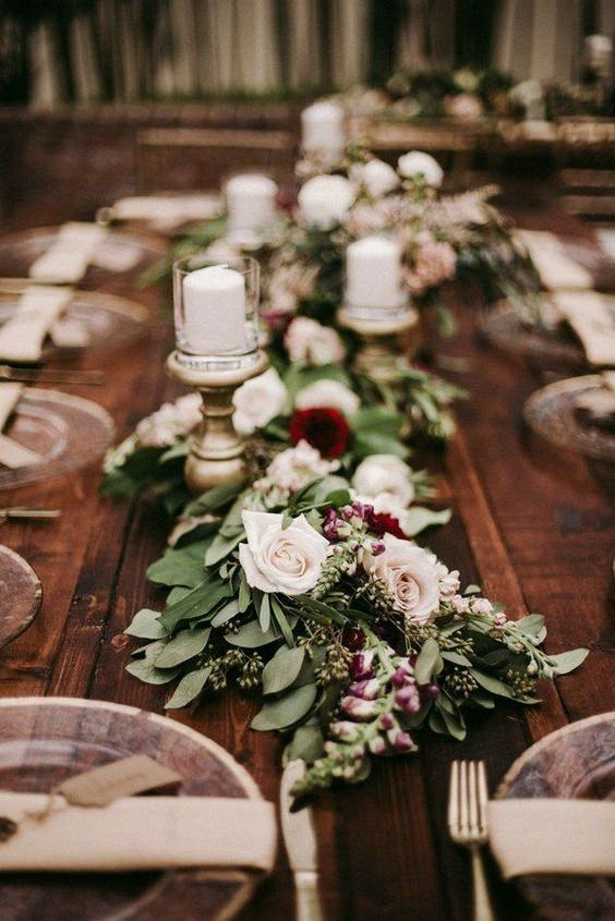 cranberry and sage wedding reception table