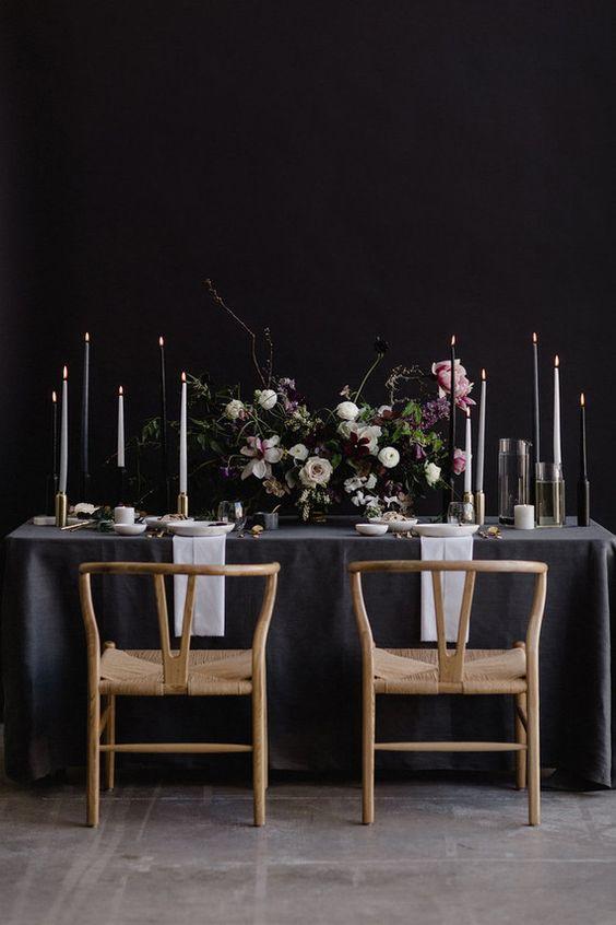 emerald black grey wedding reception table