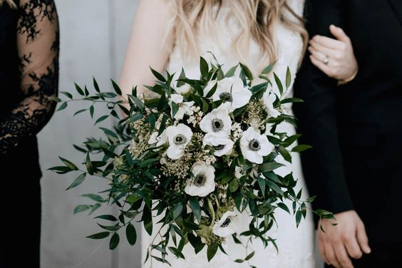 green black and white bouquets