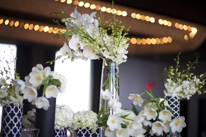 emerald and black wedding reception