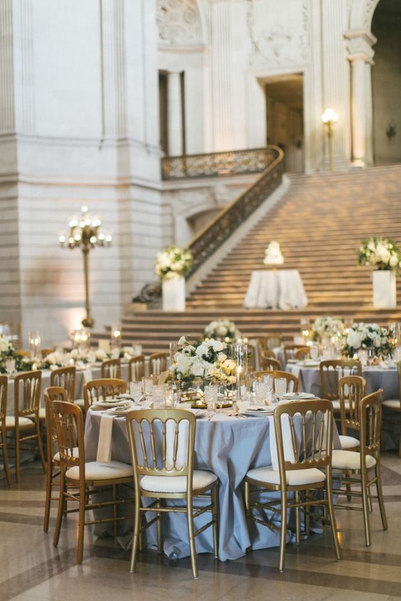 grey and gold wedding reception