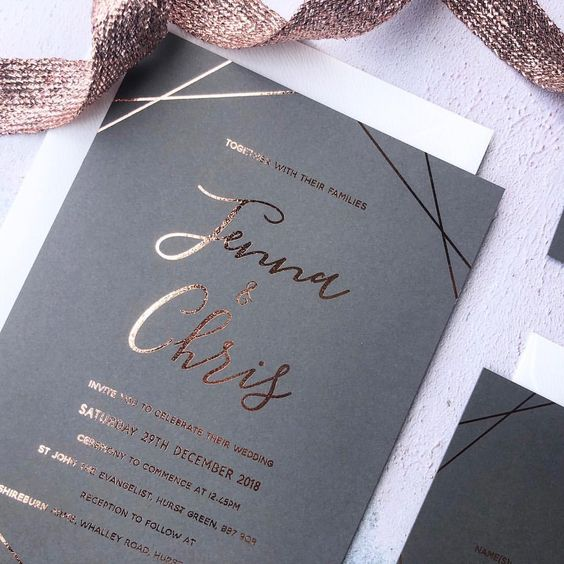 grey and gold wedding invitation