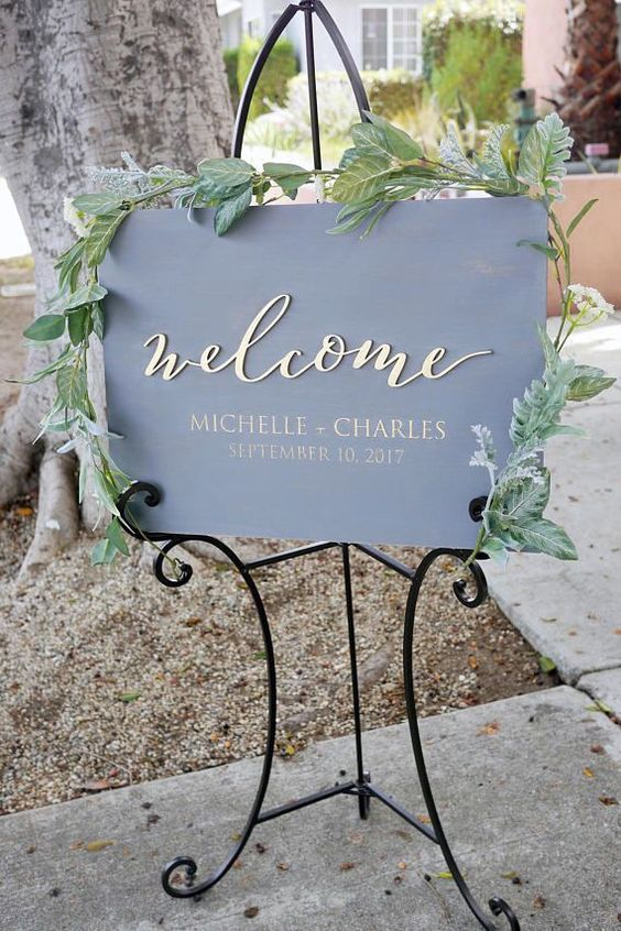 grey and gold wedding sign