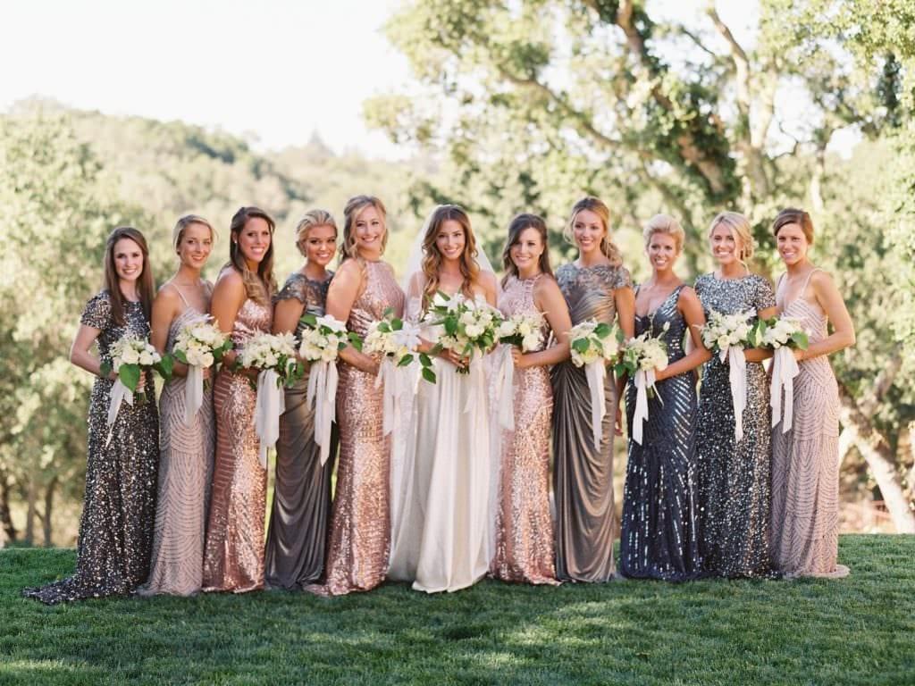 grey and gold bridesmaids