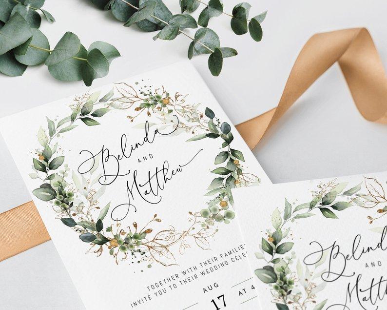 bohemian wreath invitation