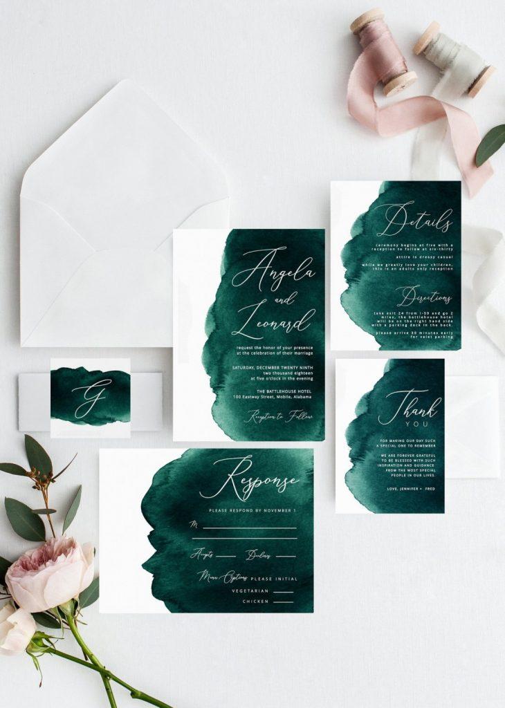 emerald watercolor invitation