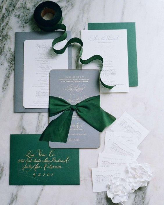 silver and emerald wedding invitations