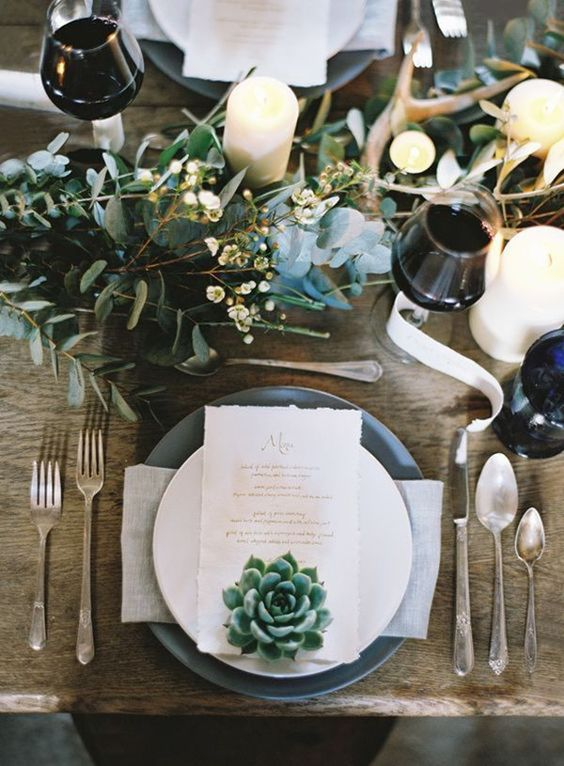 silver and green winter wedding table