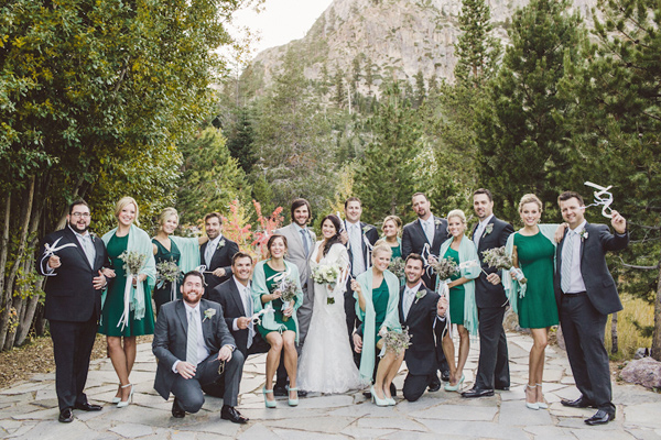 emerald and mint wedding party