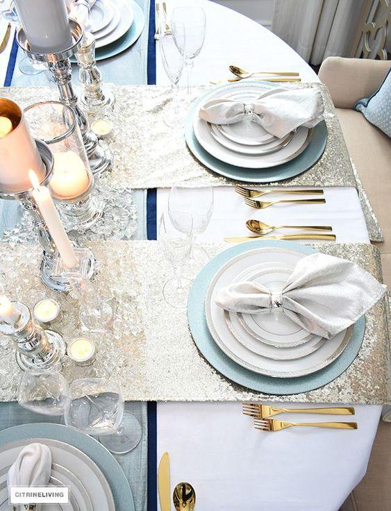 powder silver gold wedding reception table