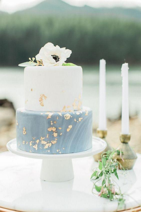 silver gold blue wedding cake