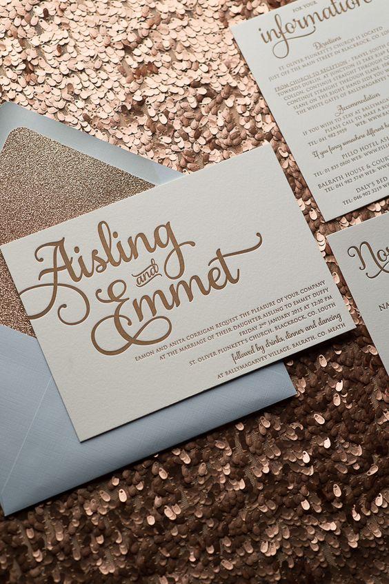 powder blue and gold wedding invitation