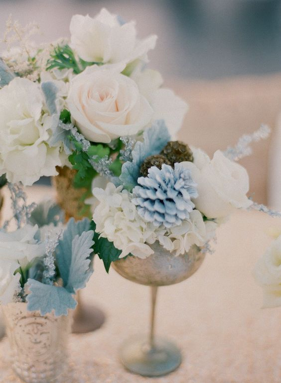 powder blue and silver gold wedding flowers