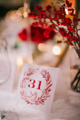 red and white wedding reception table