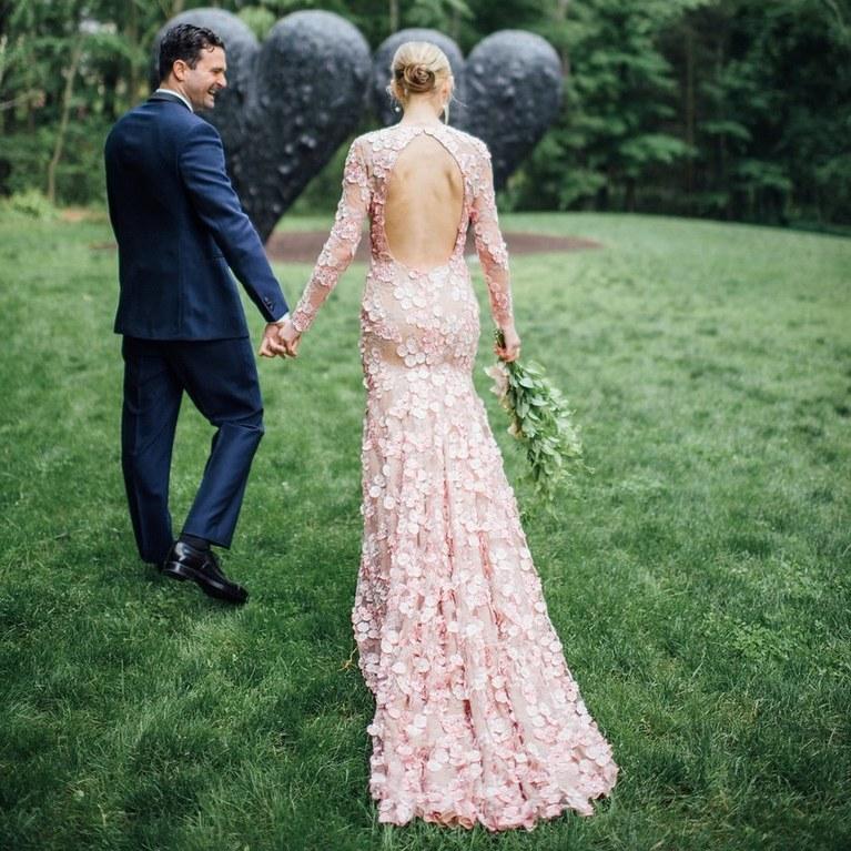 blush wedding dress groom in blue
